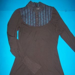 L FREE PEOPLE LACE DETAILED BROWN TUNIC TOP